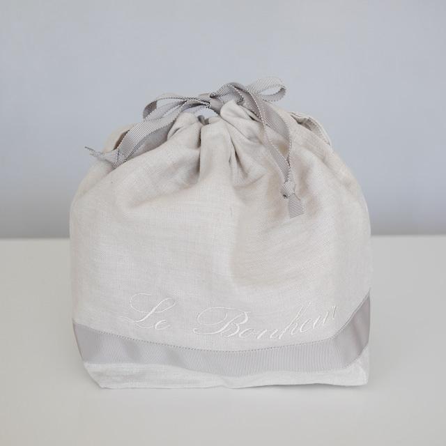 【刺繍入り】リネン100%ランチ巾着