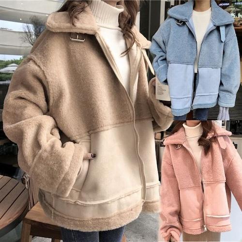 ボアブルゾン ジップアップ 韓国 ファッション レディース ボアジャケット もこもこ ボア ベルト オーバーサイズ DTC-606104703290