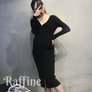 マタニティ ドレス フロントボタン リブニット ワンピース Vネック 膝丈 ミニ 大きいサイズ 韓国 パーティードレス