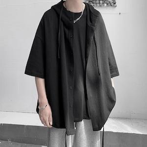 ドロップショルダーフードシャツ BL8492