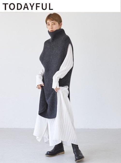 TODAYFUL (トゥデイフル) Roundhem Knit Vest 21【12120505】ニットトップス
