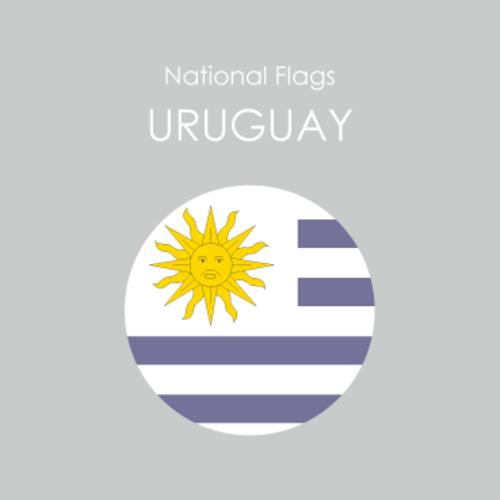 円形国旗ステッカー「ウルグアイ」