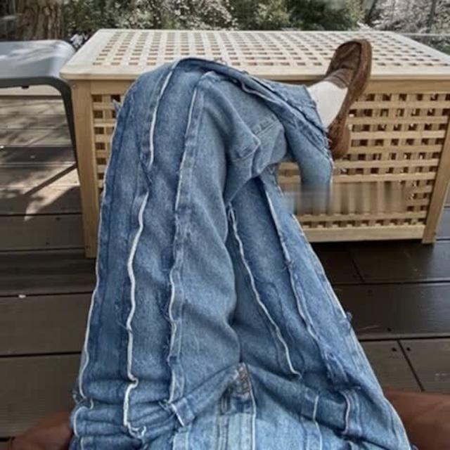 Frill stripe denim pants(フリルストライプデニムパンツ)b-191