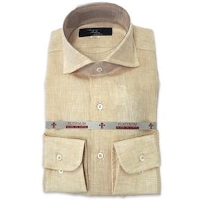 国産ワイドスプレッドカラーシャツ ベージュ リネン