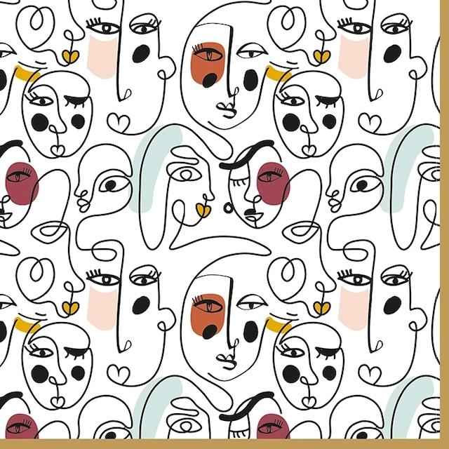 【Easy Life】バラ売り2枚 ランチサイズ ペーパーナプキン Modernism ホワイト