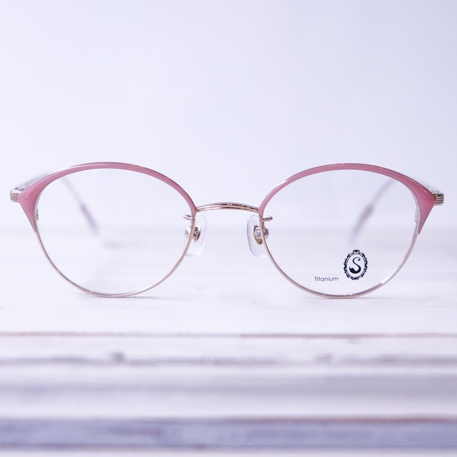 Seacret Remedy シークレットレメディ メガネ レディースブロウ S-039 / White gold + Pink