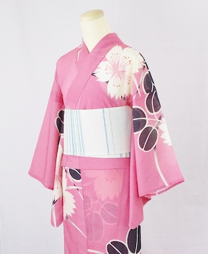 浴衣【撫子と萩】ピンク/加花の大人ゆかた
