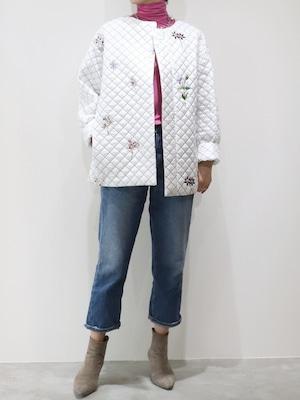 キルティングフラワー刺繍コート