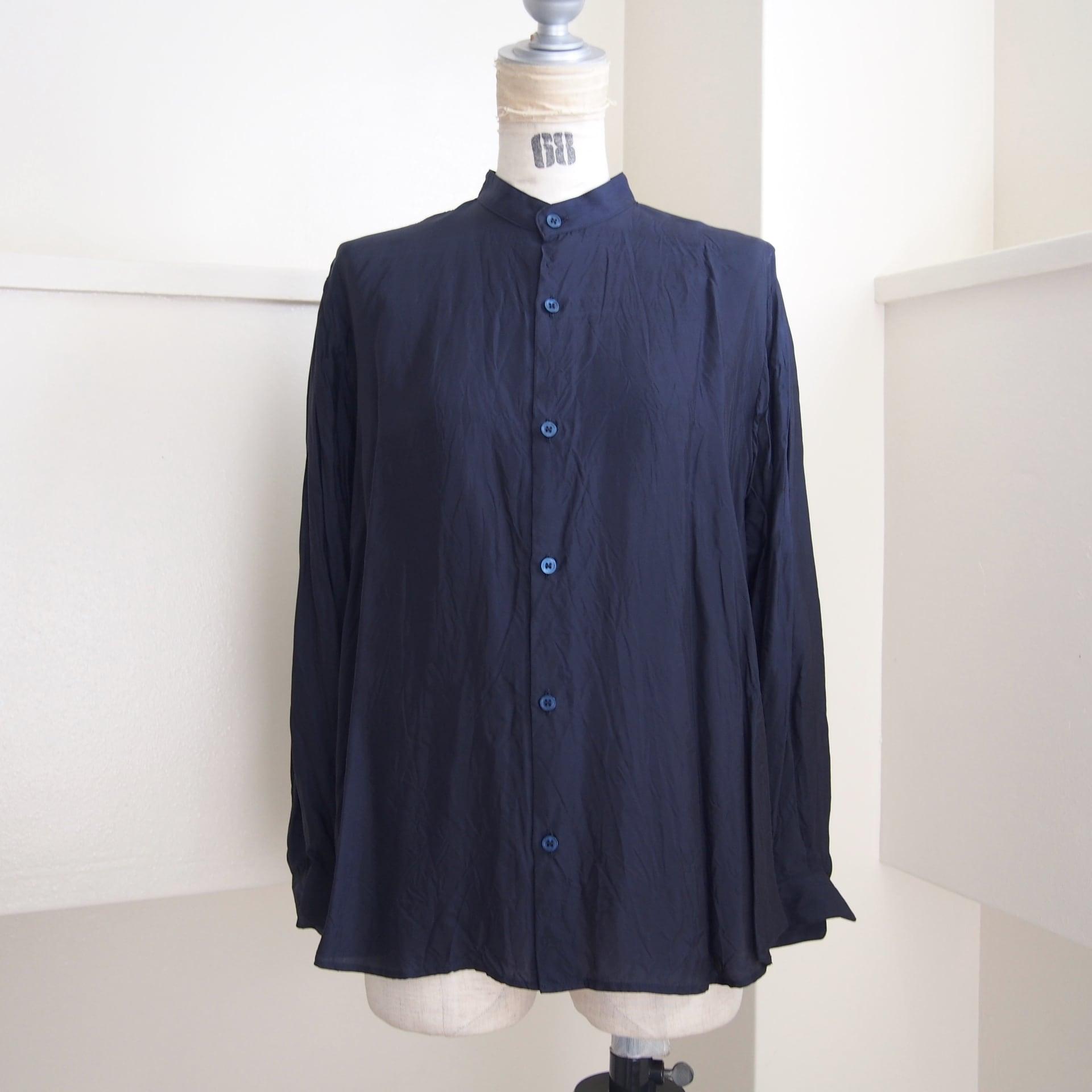 【hippiness】cupro A line shirt (245navy)/【ヒッピネス】キュプラ Aライン シャツ(245ネービー)