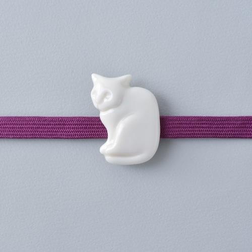 白磁の帯留 猫