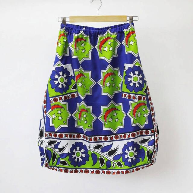 月と星のバルーンスカート|アフリカ布スカート / カンガスカート / コクーンスカート