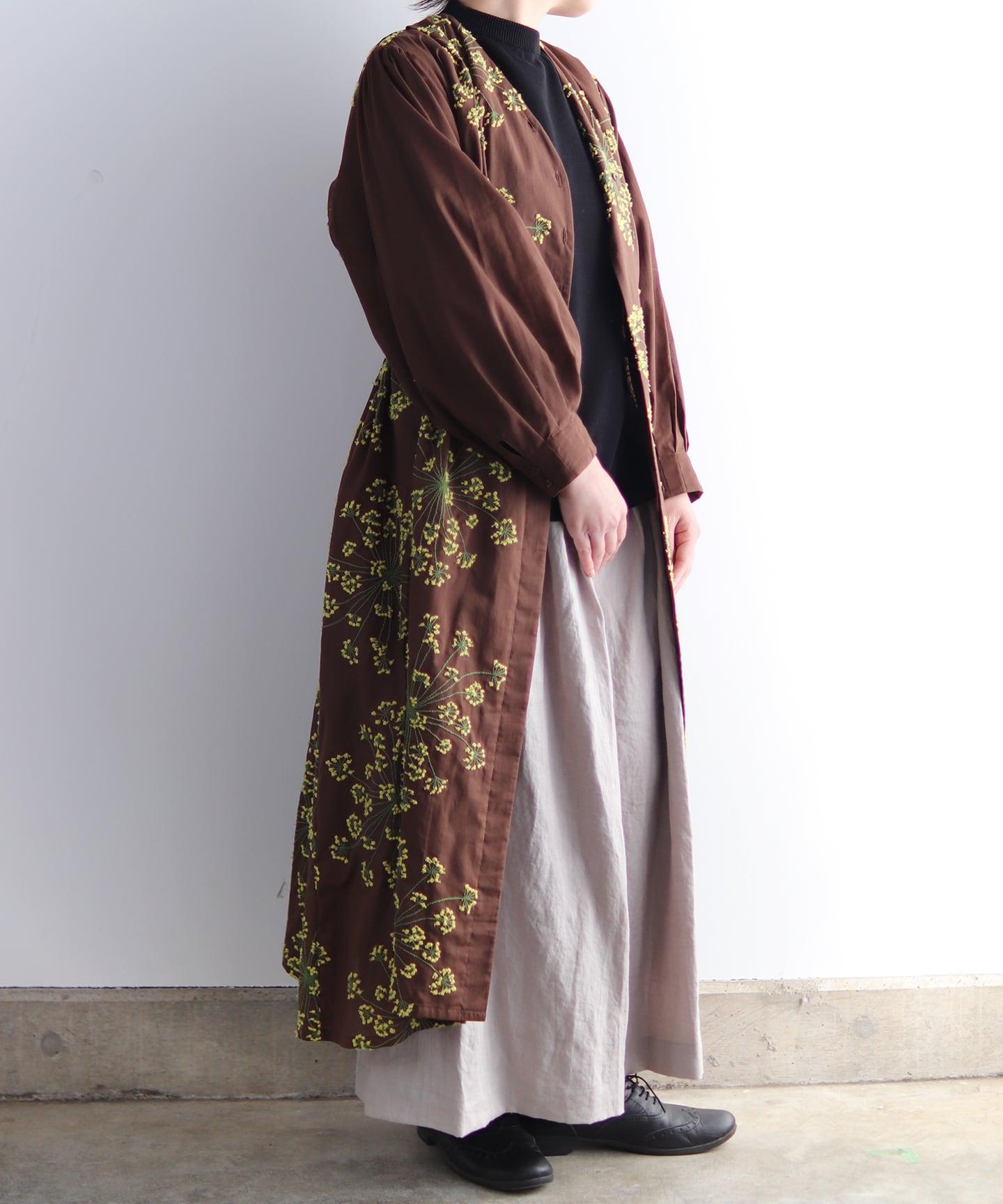 フェンネル刺繍ドレスコート (evi622  BRN・ブラウン)