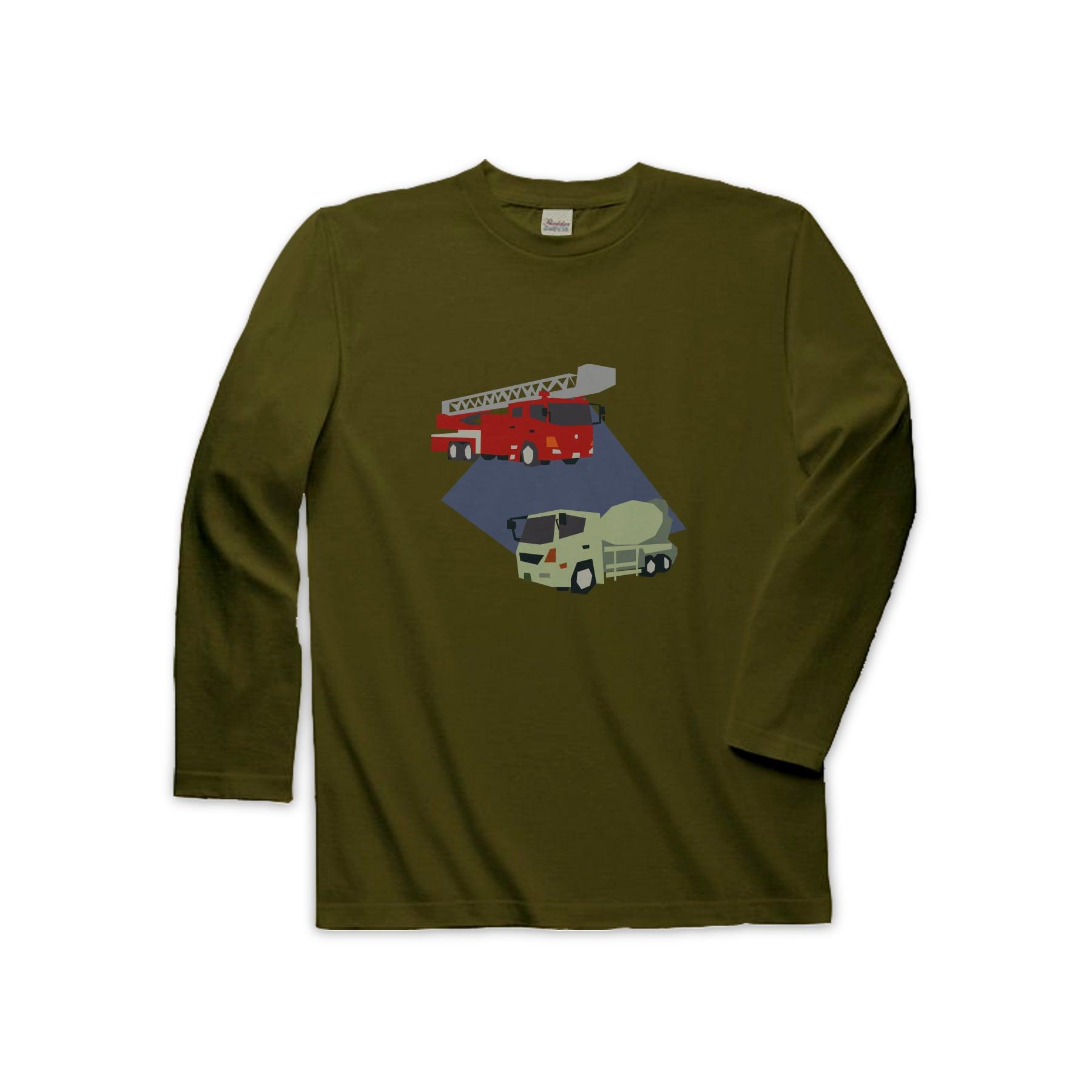 車Tシャツ(長袖)-消防車とミキサー車(オリーブ)