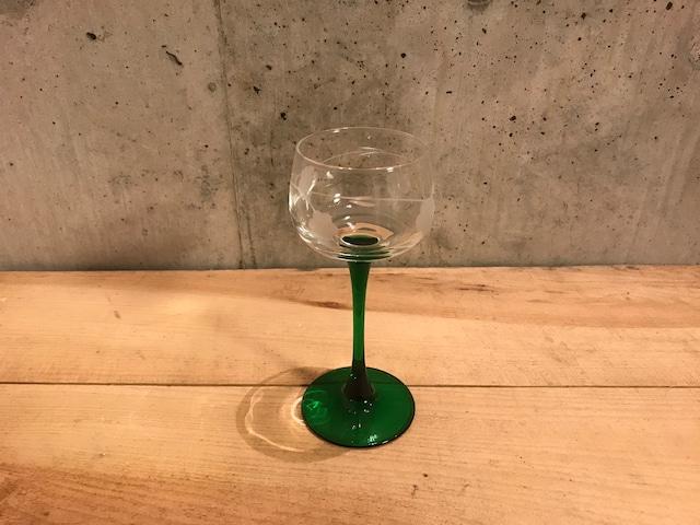 フランス製ワイングラス グリーン 花柄(2客) (005)