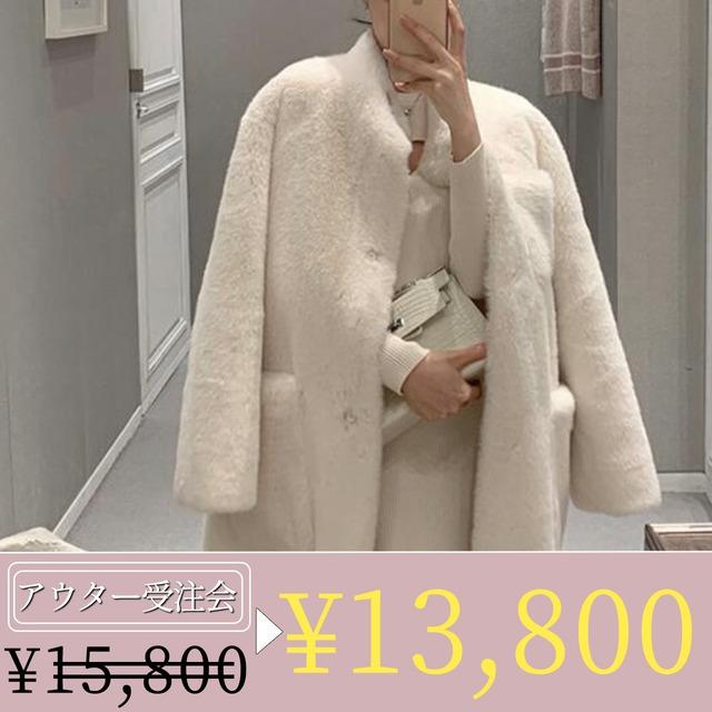 【期間限定!アウター受注会特別価格】ラフスリーブ上質ファーコート 2色展開
