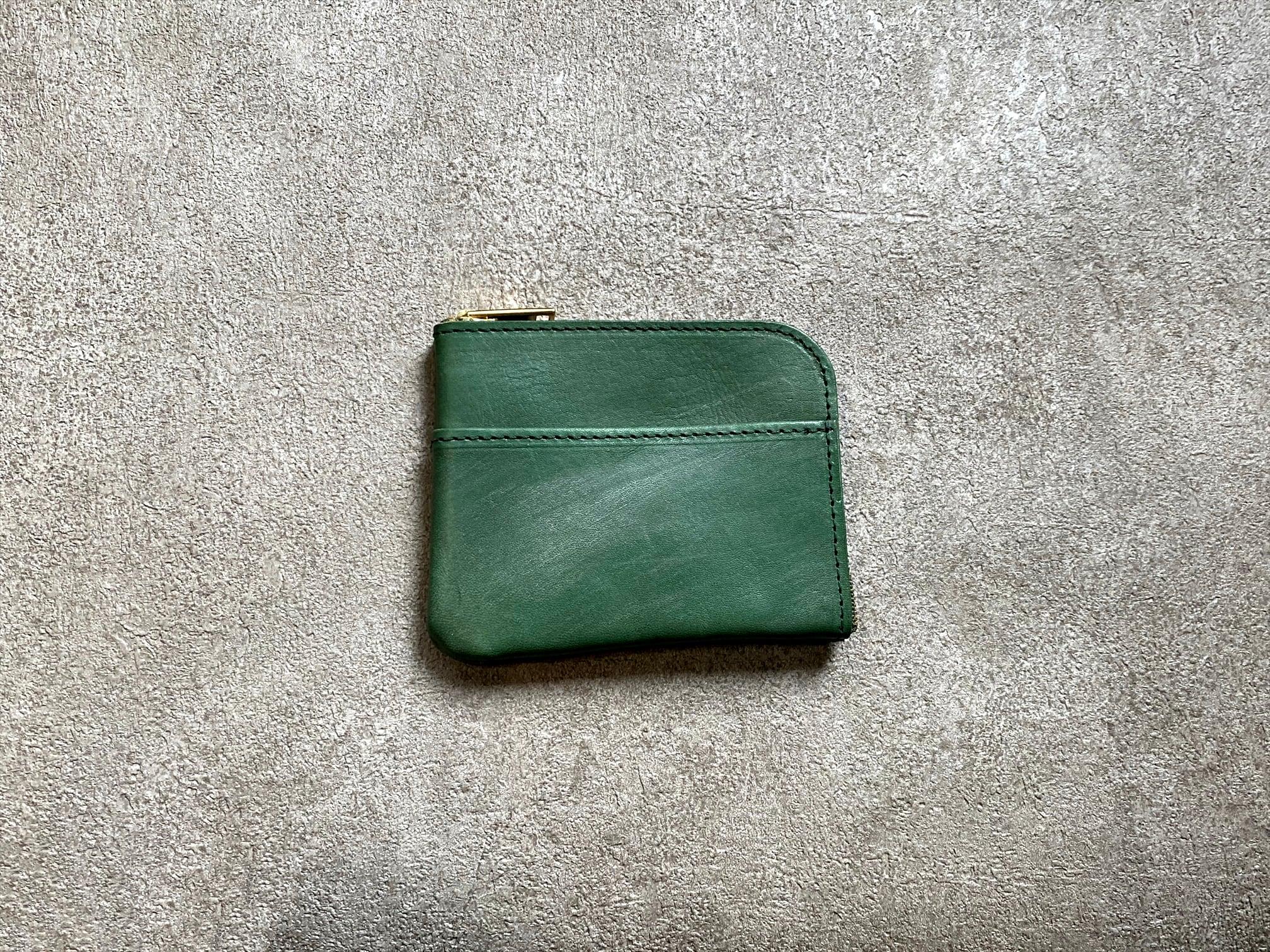 L字型スモールウォレット(ヌメ革ロウ引き)  カラー:グリーン