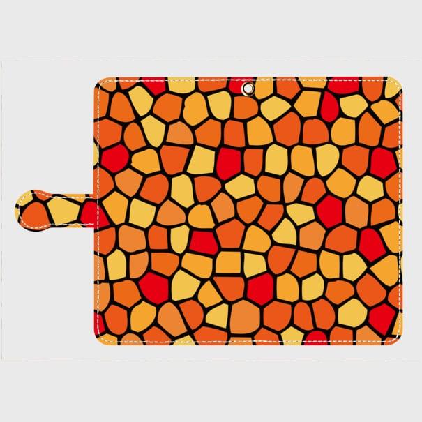 モザイクタイル(赤・黄・橙)/ Androidスマホケース(手帳型ケース)
