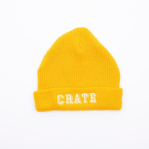 Block Logo Knit Cap Yellow×White