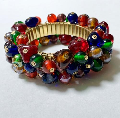 Vintage Spandex Bracelet With Multi Color Glass Charm