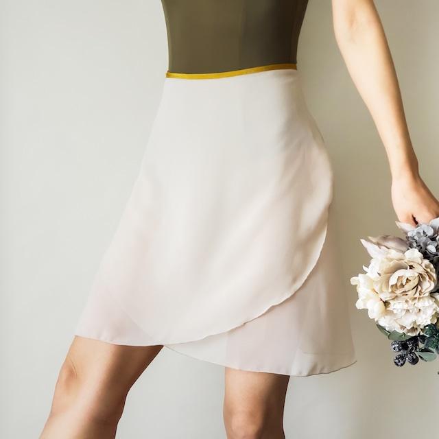 LONG wrap skirt【バニラホワイト×マスタード】