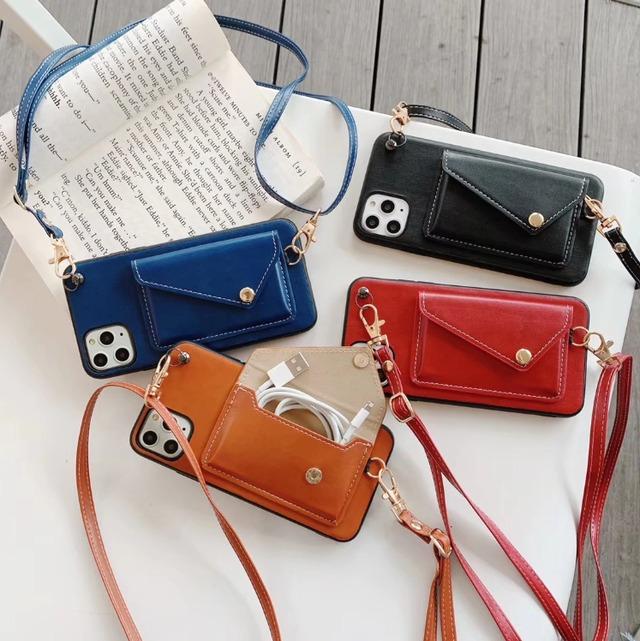 ストラップ付 Leather pouch iphone galaxy case