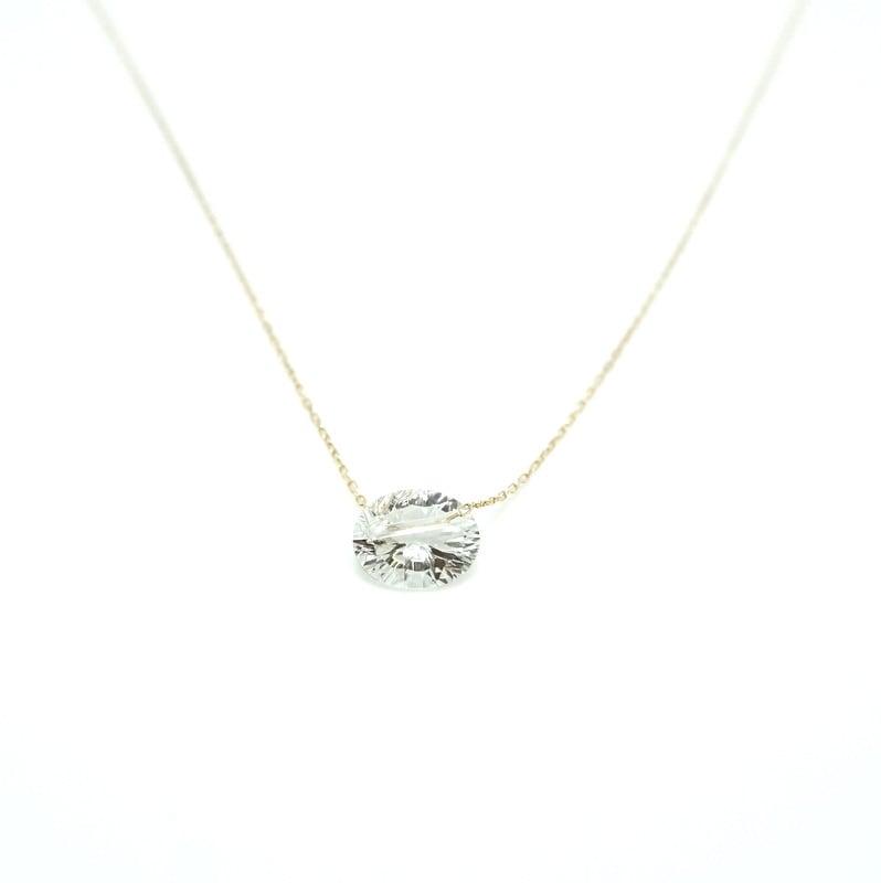 Holey stone Conecave Necklace White topaz - K18YG
