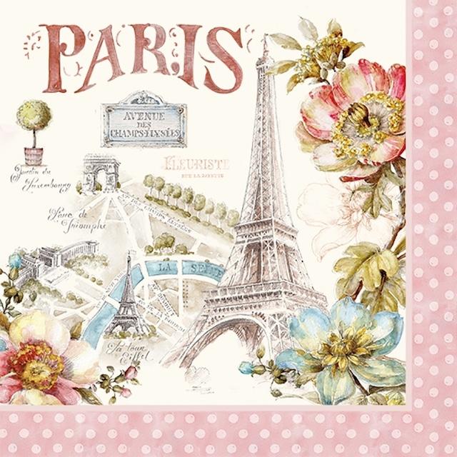 【Easy Life】バラ売り2枚 ランチサイズ ペーパーナプキン PARIS FOREVER ピンク