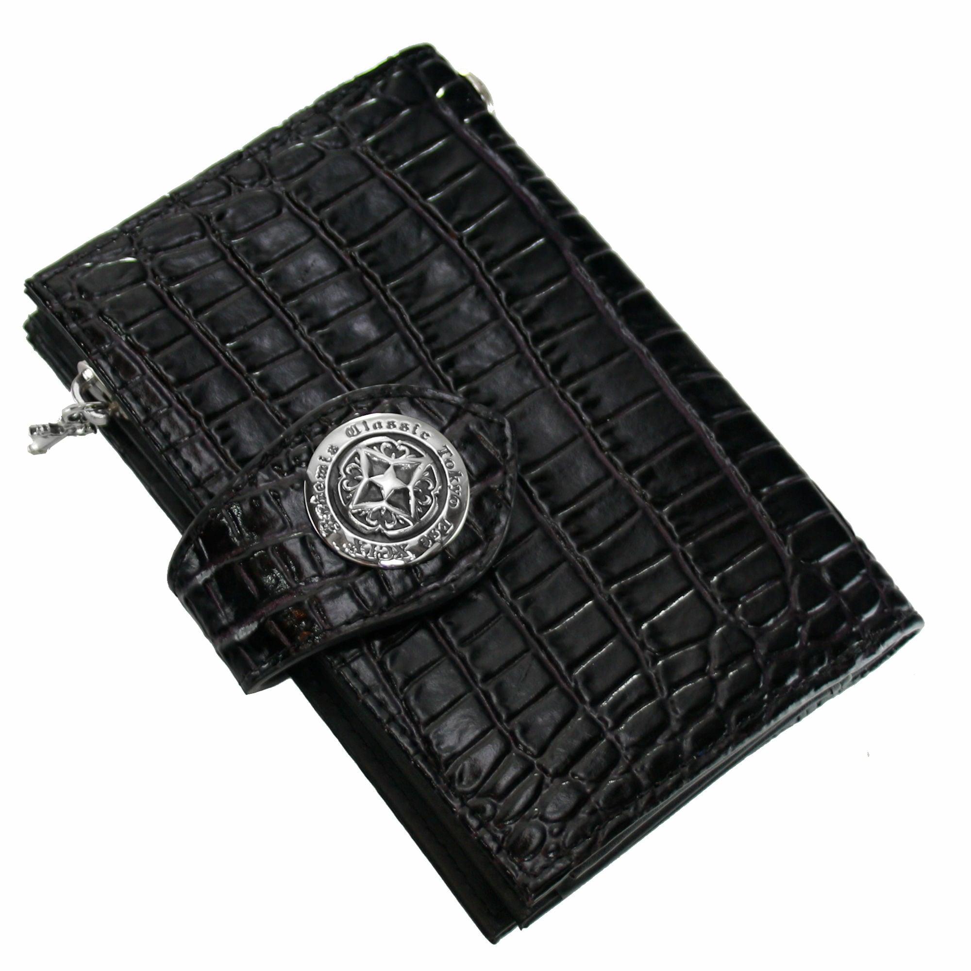 アンティークミディアムウォレット(クロコスタイルミッドナイトパープル) ACW0003 Antique medium wallet (croco style midnight purple)