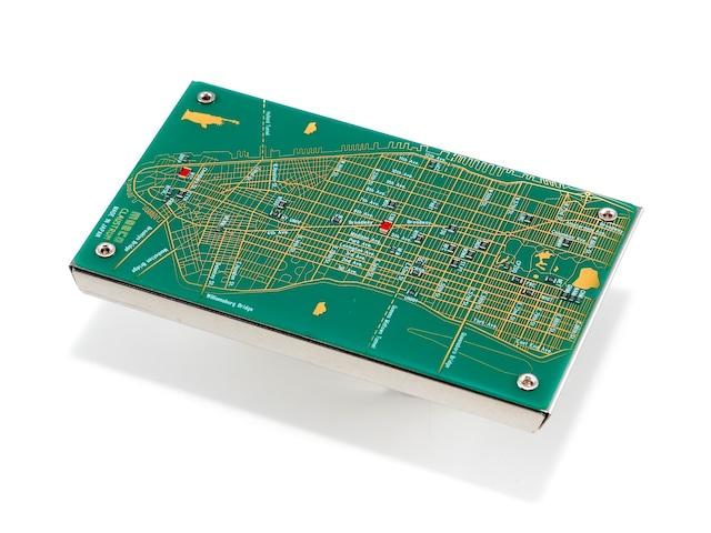 NY回路地図 名刺入れ 緑 【名入れ無料サービス実施中】