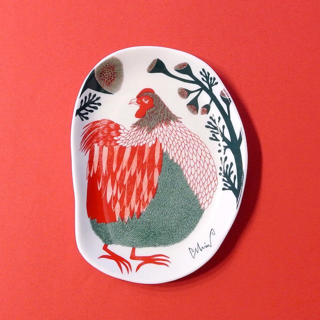 再入荷《鳥/にわとり》 小皿  裏庭の草むらの鶏 morita MiW ニワトリ 化粧箱入り