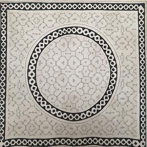 大判 36 白 155x157cm大  円アナコンダ蛇 アマゾンの泥染め シピボ族 天然染め 先住民族の工芸