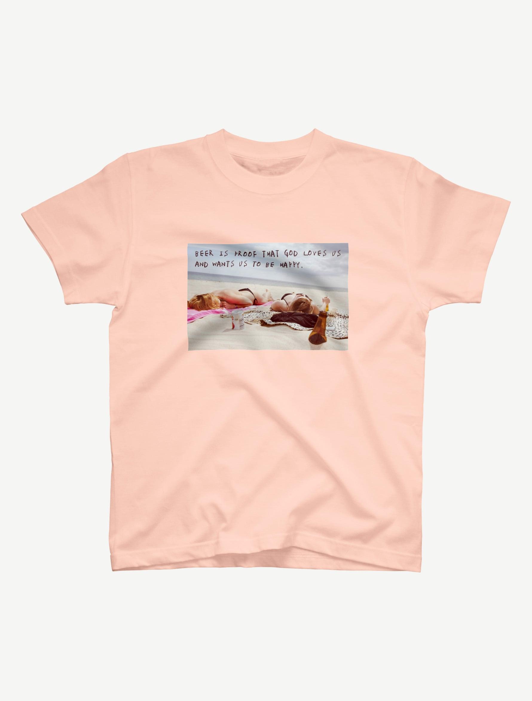 【悩み無用の開放ビーチ】Tシャツ(アプリコット)