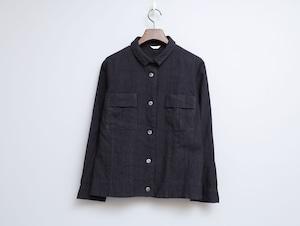 リネンウール漆黒染めの一重ジャケット