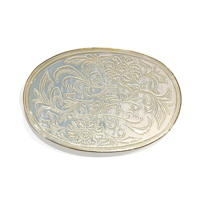 ハクア  花唐草彫楕円皿 27cm