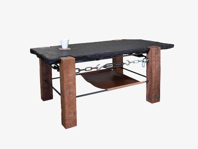 「木」「鉄」「石」「革」のコーヒーテーブル001|一点物