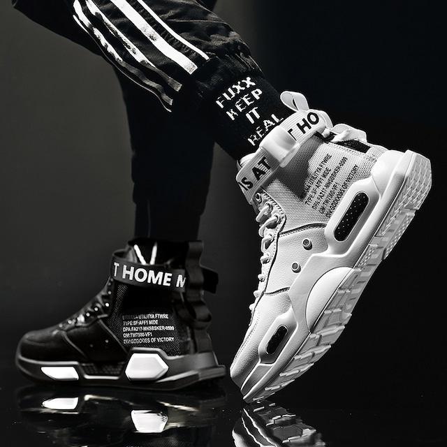 【不上不下シリーズ】★靴★ 2color 黒or白 スポーツ靴 スニーカー サイズ35-46 未来感 シューズ 男女兼用 メンズ