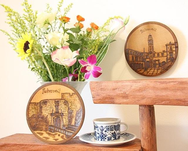 ドブロブニク鐘楼&城門★木彫り飾り皿
