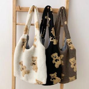bear tote bag B 3colors / ベア トートバッグ ショルダー バッグ テディーベア エコバッグ くまさん 鞄 韓国雑貨