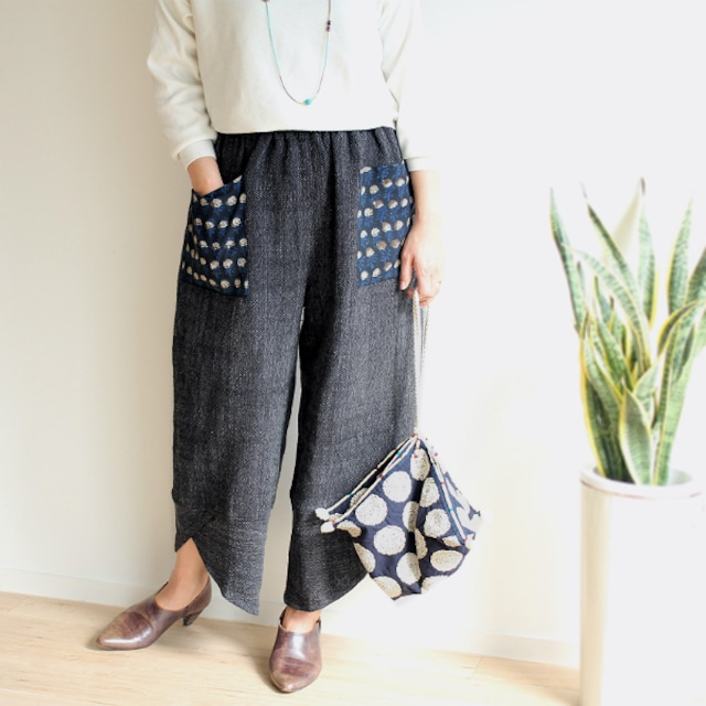 SALE★ブロックプリントポケットの手織り綿パンツ【ブラック】
