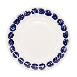 萬古焼 藍窯 モーニングプレート 皿 直径約21cm 「カメリア」 藍 AGM-200083