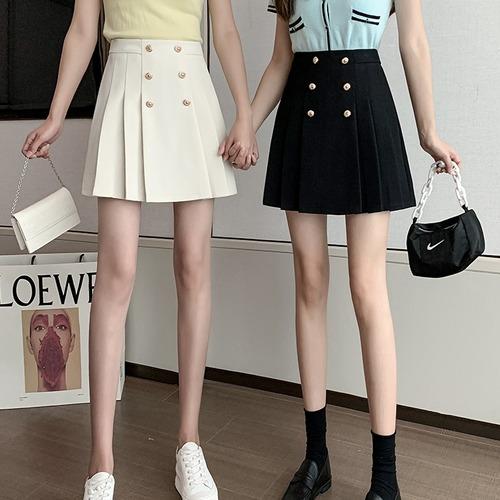 2色/Wボタンタックプリーツスカート ・14054