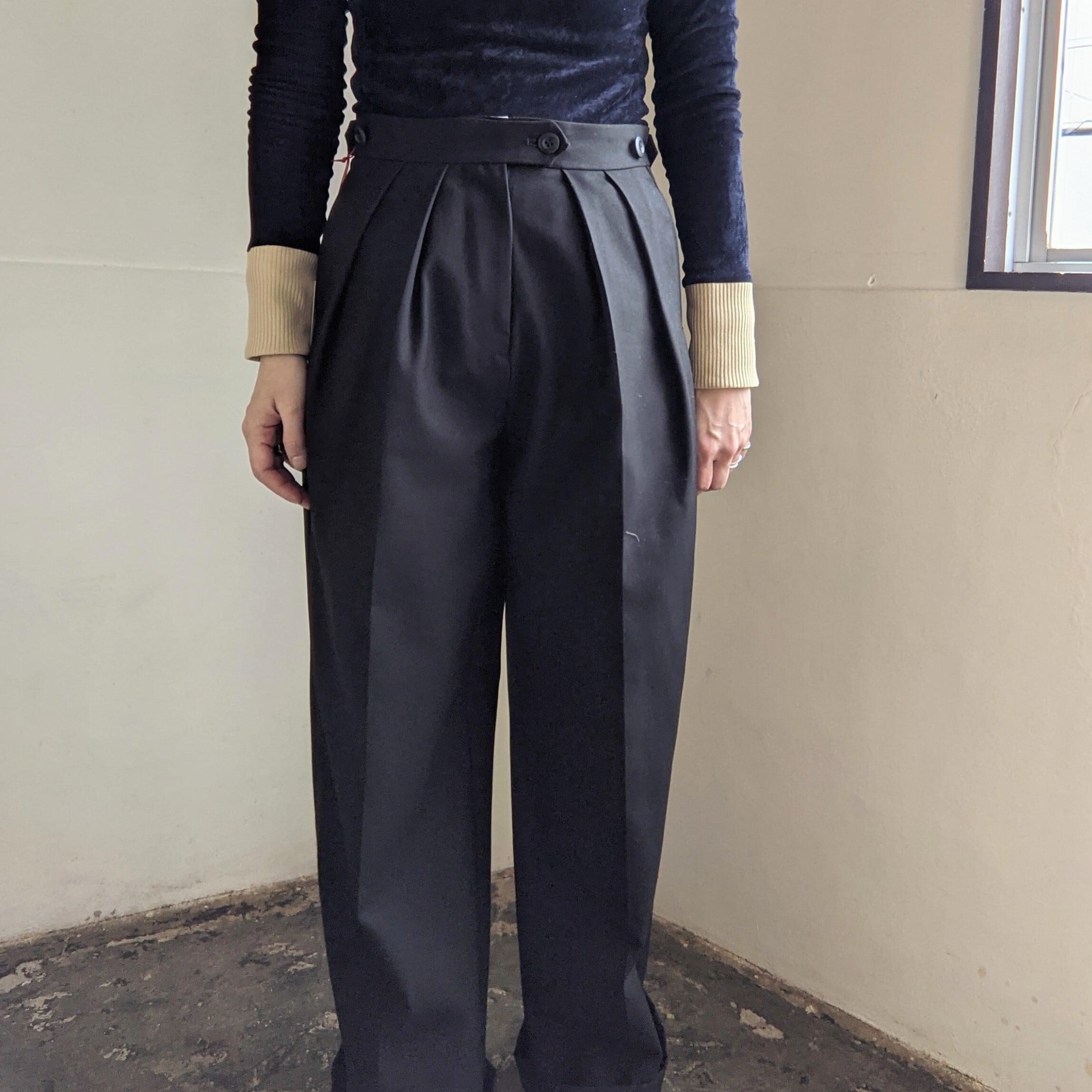 ☆11sizeのみ【 M53.】OXFORD WIDE PANTS / COTTON / BLACK / コットンパンツ