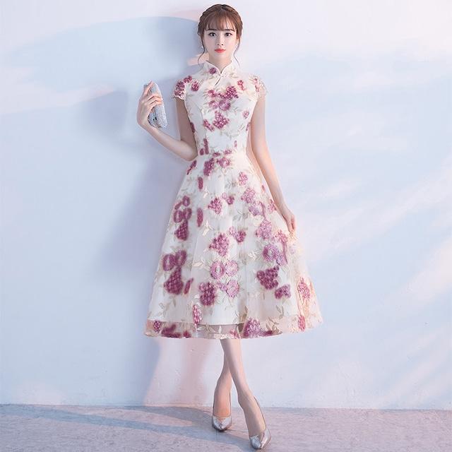 ロングチャイナドレス 刺繍チャイナドレス チャイナ風ワンピース パーティードレス 半袖 大きいサイズ XS S M L LL 3L チャイナ風服 二次会 入園式 卒業式 イブニングドレス