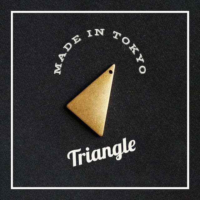 【2個】チャーム 三角形 【厚さ1.0ミリ】プレーン(日本製、真鍮、無垢)