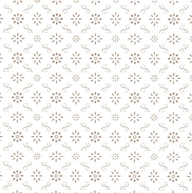 北欧【Ib Laursen】バラ売り1枚 ランチサイズ ペーパーナプキン FLOWER PATTERN ホワイト