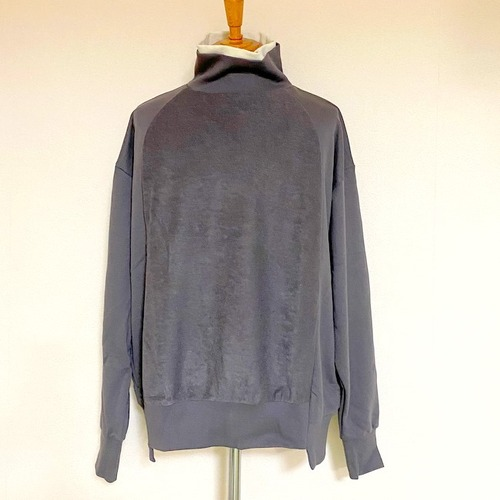 Sweat Layered Turtle Neck Pullover Charcoal