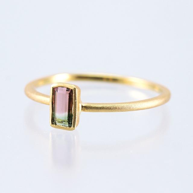 Tricolor tourmaline ring