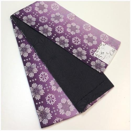 ★美品 半巾帯 雪の結晶 麻の葉 紫 洗 える ★縁ちゃぶ 3208