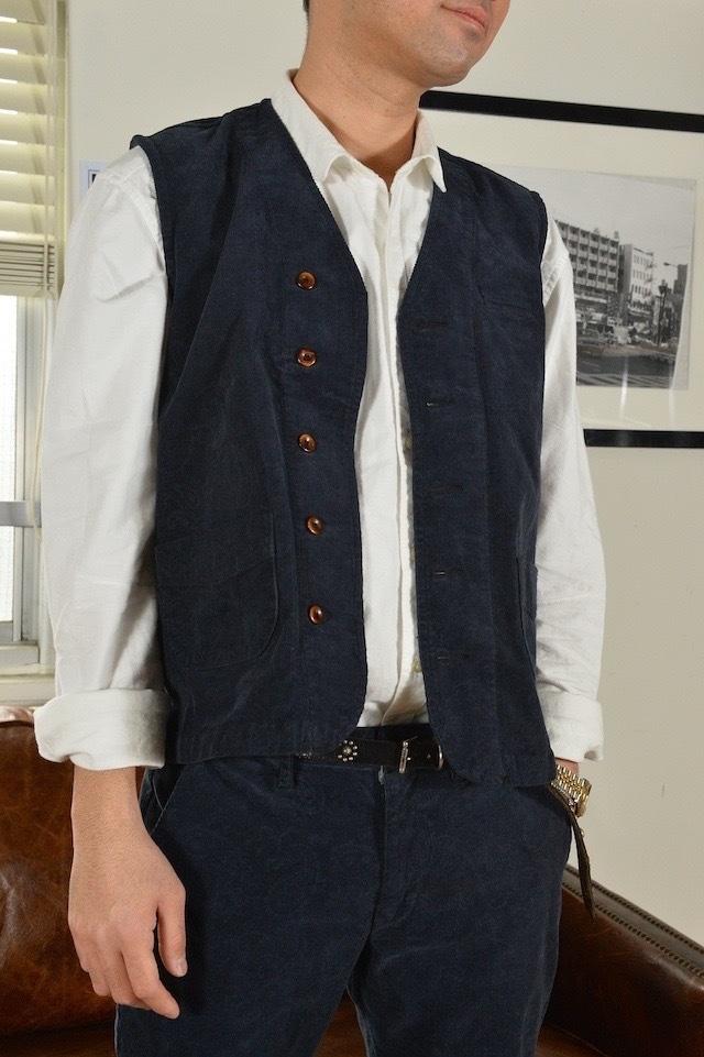 Mens, [cj008-65] Corduroy vest コーデュロイベスト  (ネイビーペイズリー) セットアップ対応,日本製, 羽織り,春秋冬,メンズ
