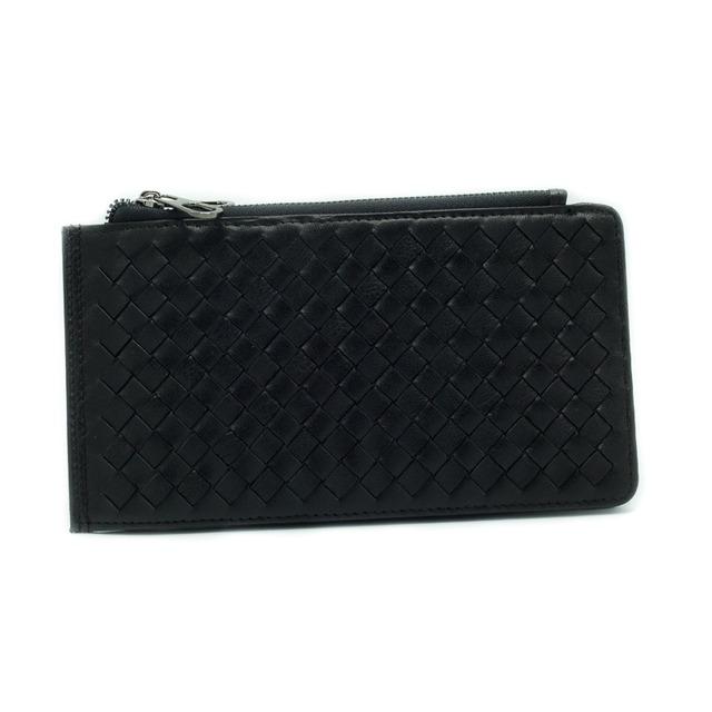 イタリア製 本革 長財布 財布 ブラック 編み込み